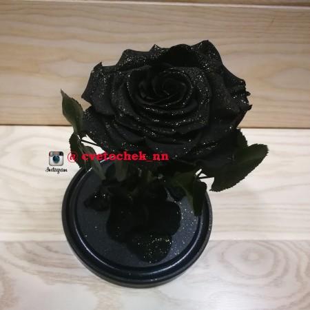 Черная с позолотой роза в колбе, премиум